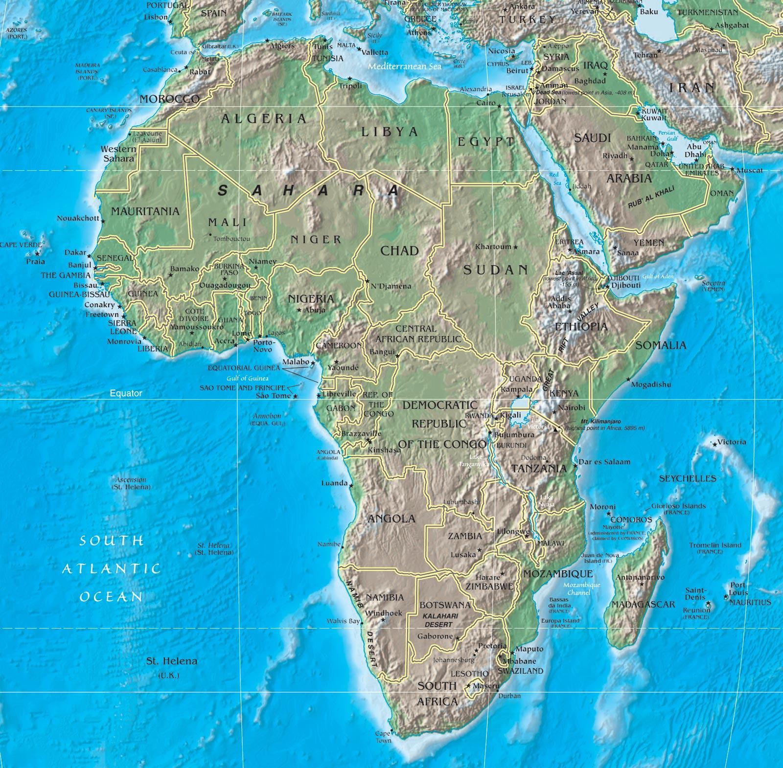 Africa Cartina Fisica E Politica.Mappa Dell Africa Geografica Carta Geografica Del Continente