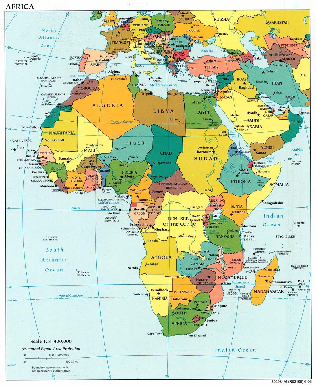 L Africa Cartina Geografica.Mappa Dell Africa Politica Carta Politica Del Continente Africano
