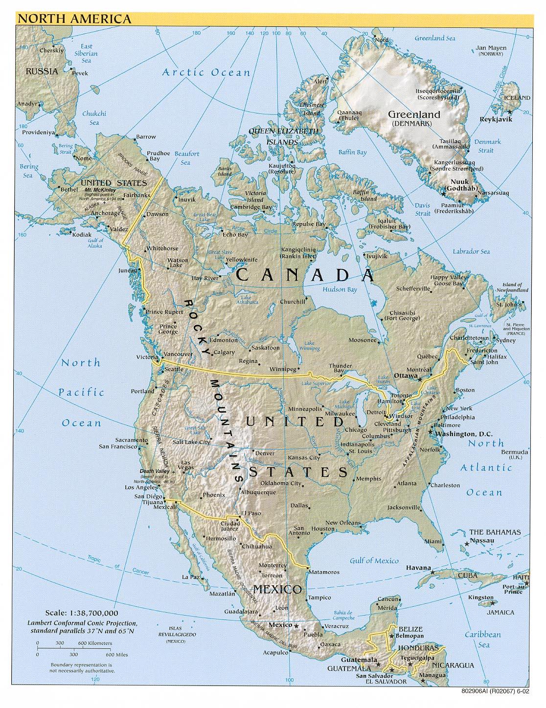 America Settentrionale Cartina.Mappa Geografica Dell America Del Nord Confini Fisici E