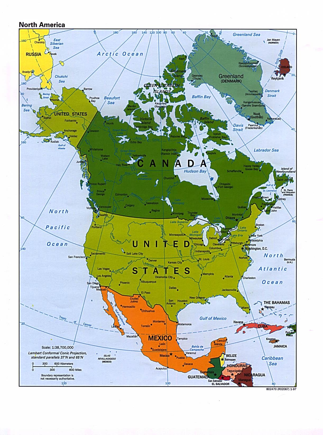 America Settentrionale Cartina Geografica Politica.Mappa Politica Dell America Del Nord Gli Stati Ed I Confini