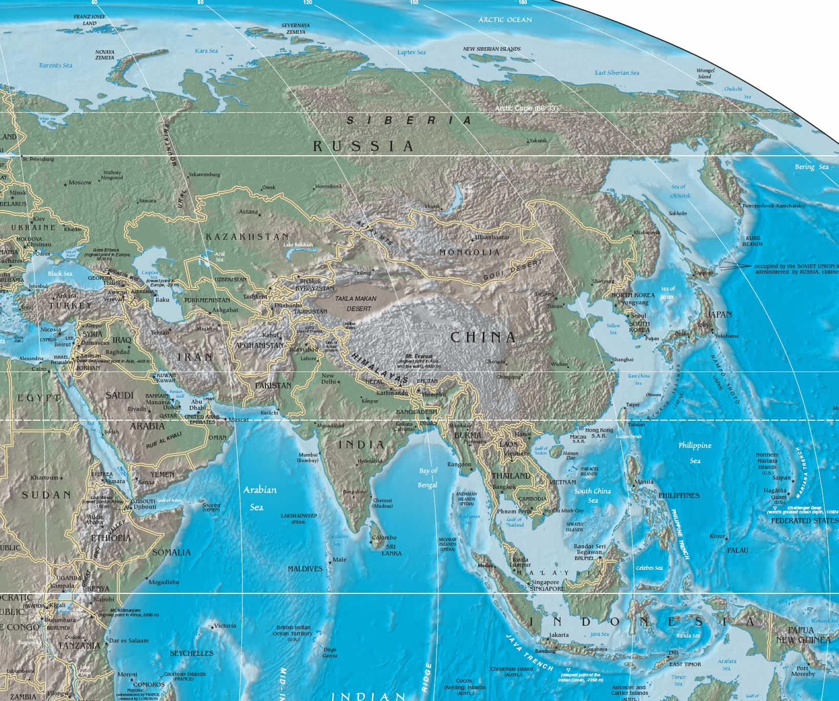 Medio Oriente Cartina Fisica.Mappa Geografica Dell Asia Carta Ad Alta Risoluzione Del Continente