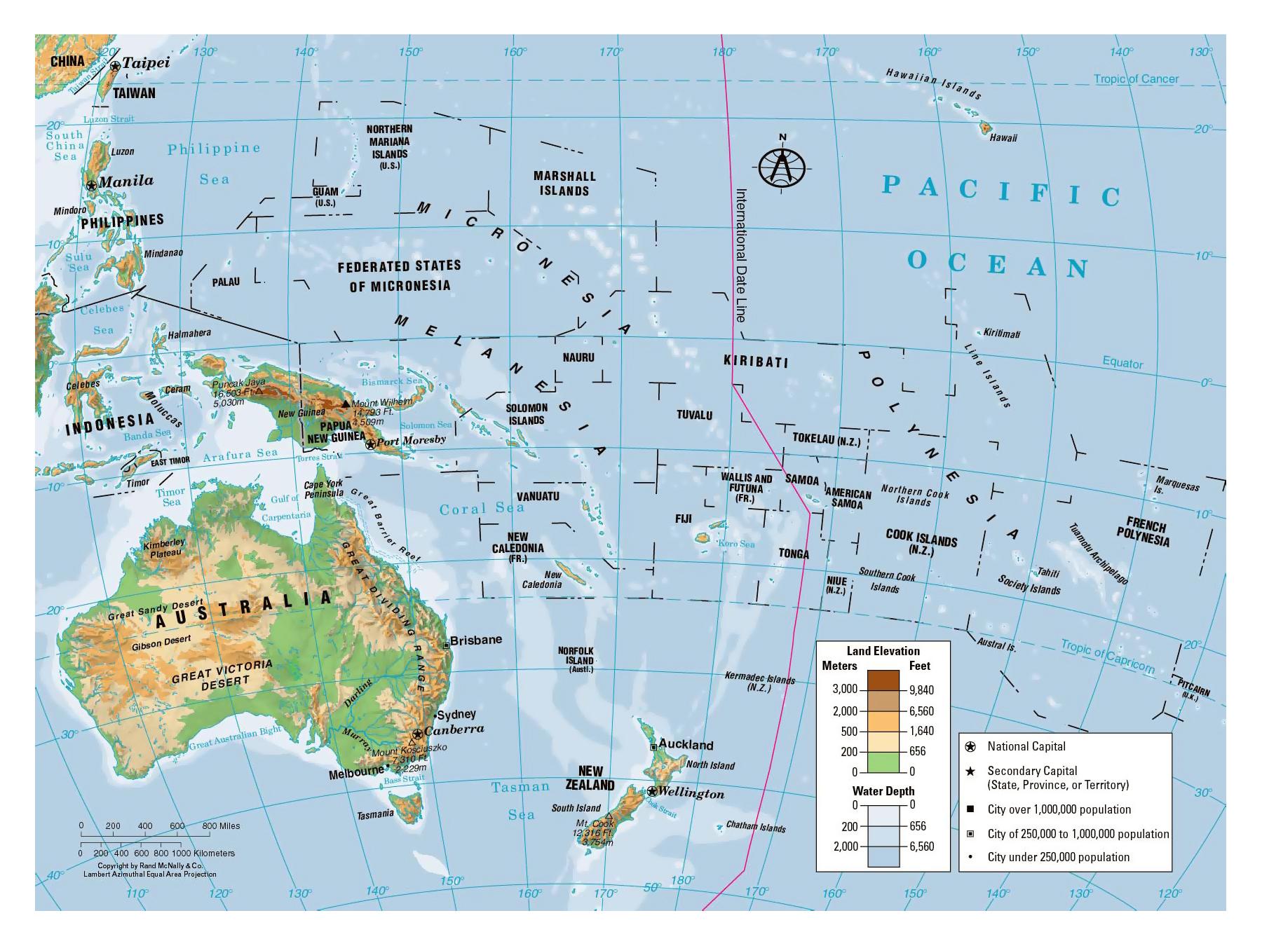 Cartina Geografica Australia E Nuova Zelanda.Mappa Geografica Dell Oceania Carta Ad Alta Risoluzione