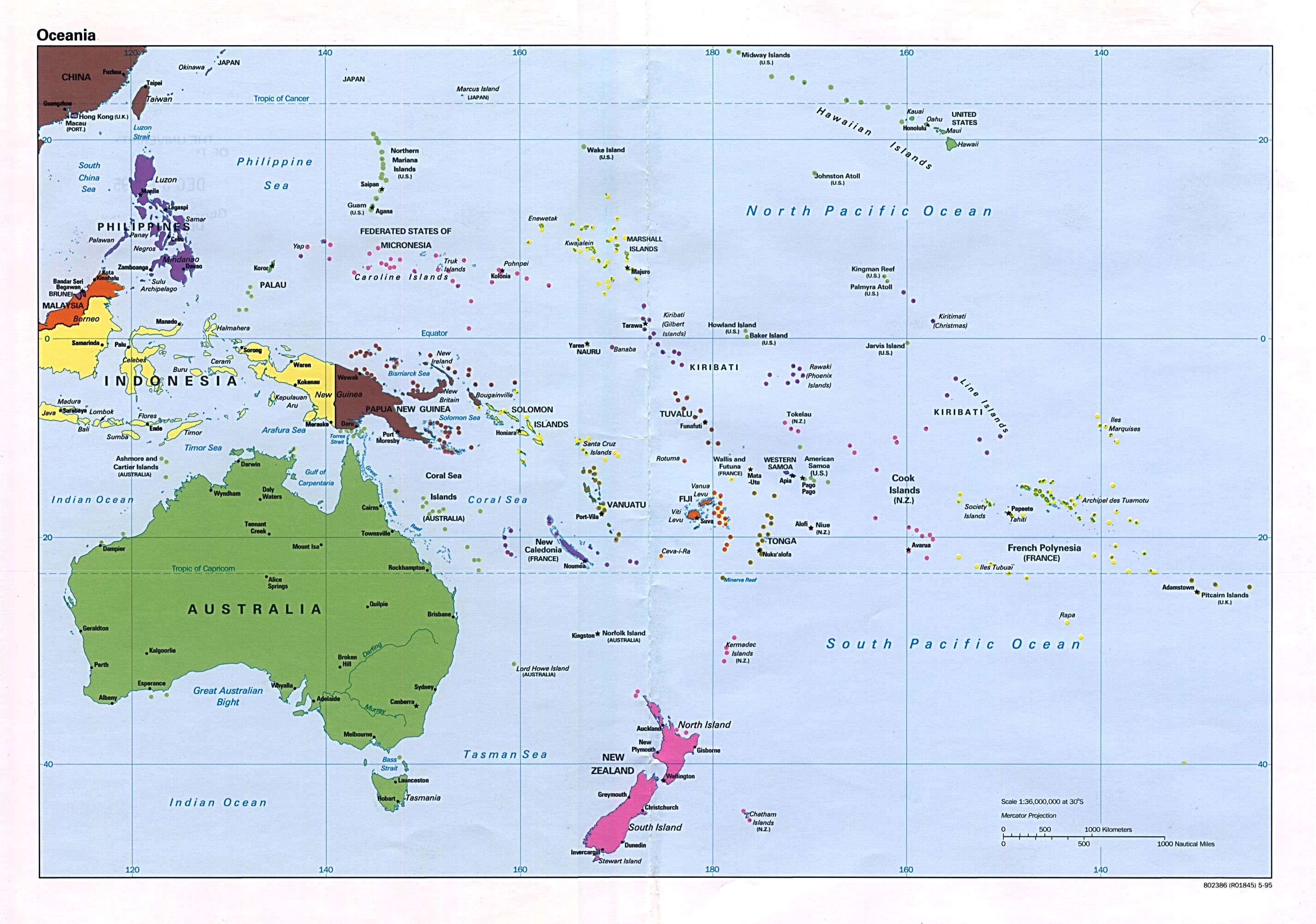 Cartina Dell Australia Politica.Mappa Politica Dell Oceania Carta Ad Alta Risoluzione