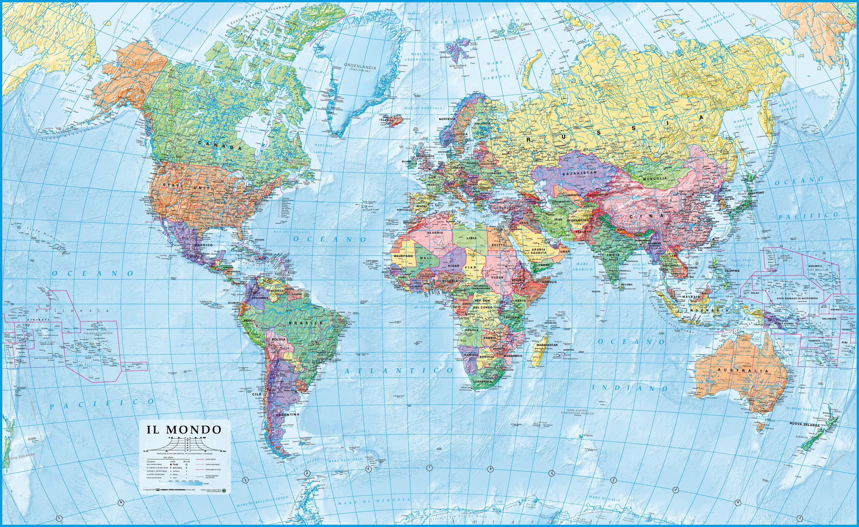 Mappa Mondo Cartina.Italiano Mappamondo Politico Cartina Ad Alta Risoluzione Del Globo