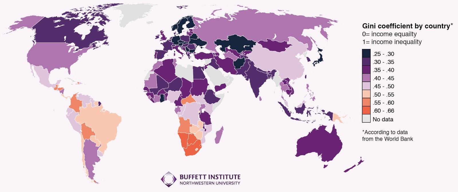 Mappa della disuguaglianza nel mondo