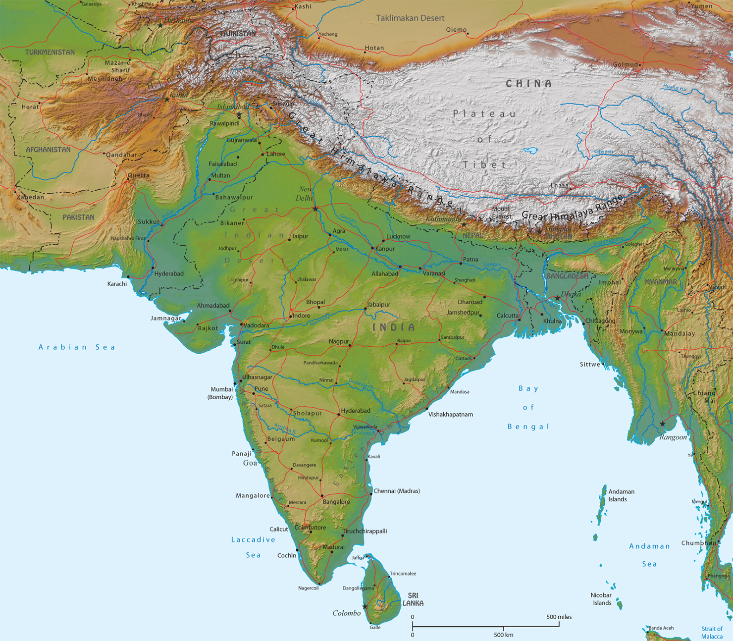 Cartina India In Italiano.Carta Geografica Dell India Mappa Geografica Ad Alta