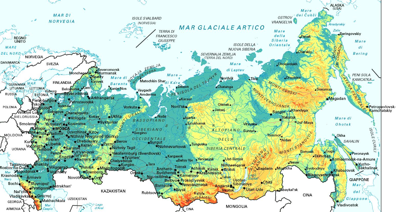 Cartina Fisica Russia Asiatica.Mappa Geografica Della Russia Carta Ad Alta Risoluzione