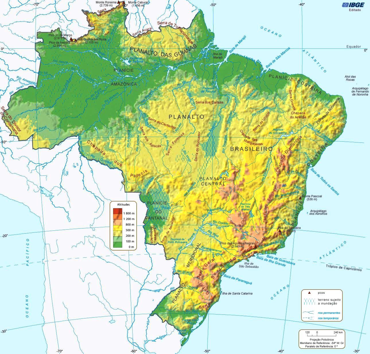 Portogallo Cartina Geografica Politica.Mappa Geografica Del Brasile Carta Ad Alta Risoluzione Del Brasile