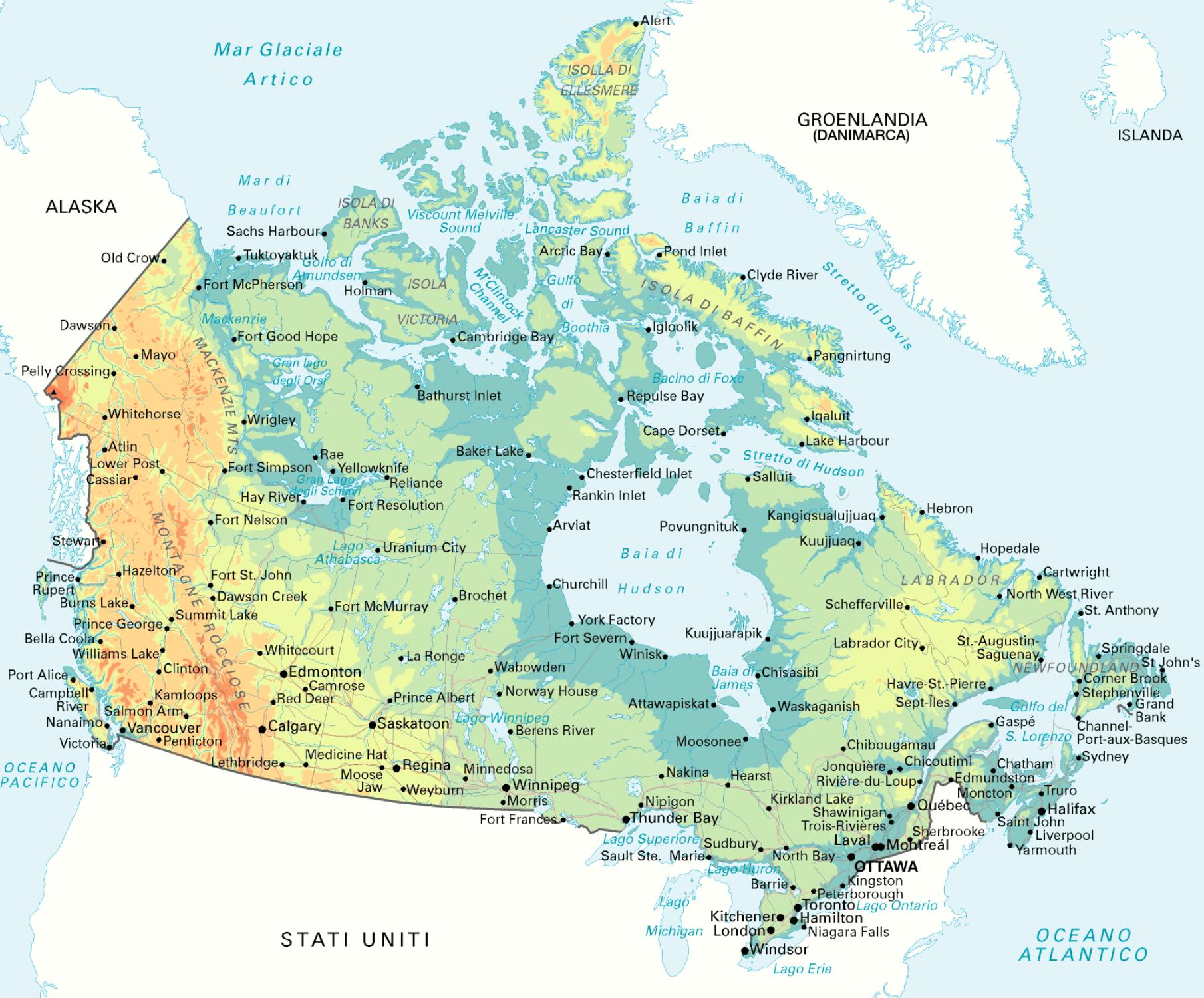 Canada Cartina Fisica.Mappa Geografica Del Canada Carta Ad Alta Risoluzione