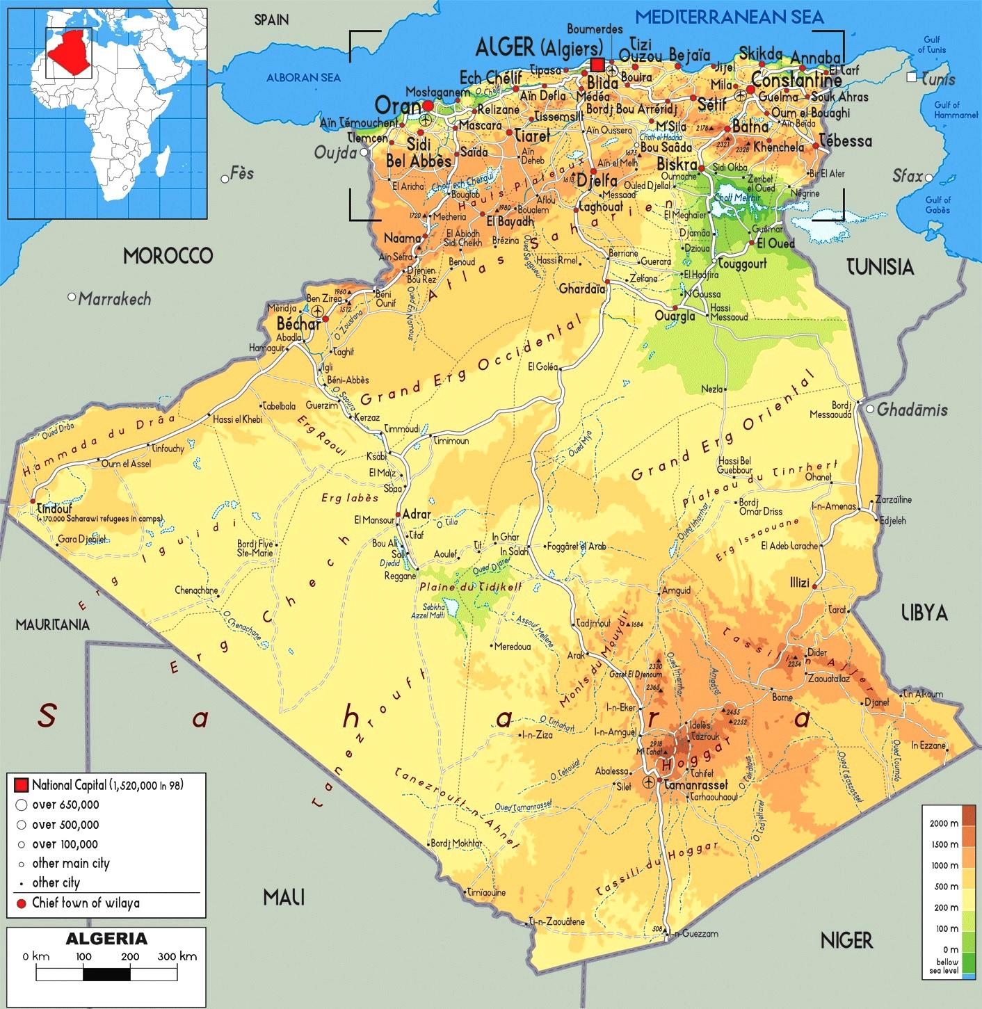 Cartina 1500.Italiano Mappa Geografica Dell Algeria Territorio Paesaggio Flora Fauna