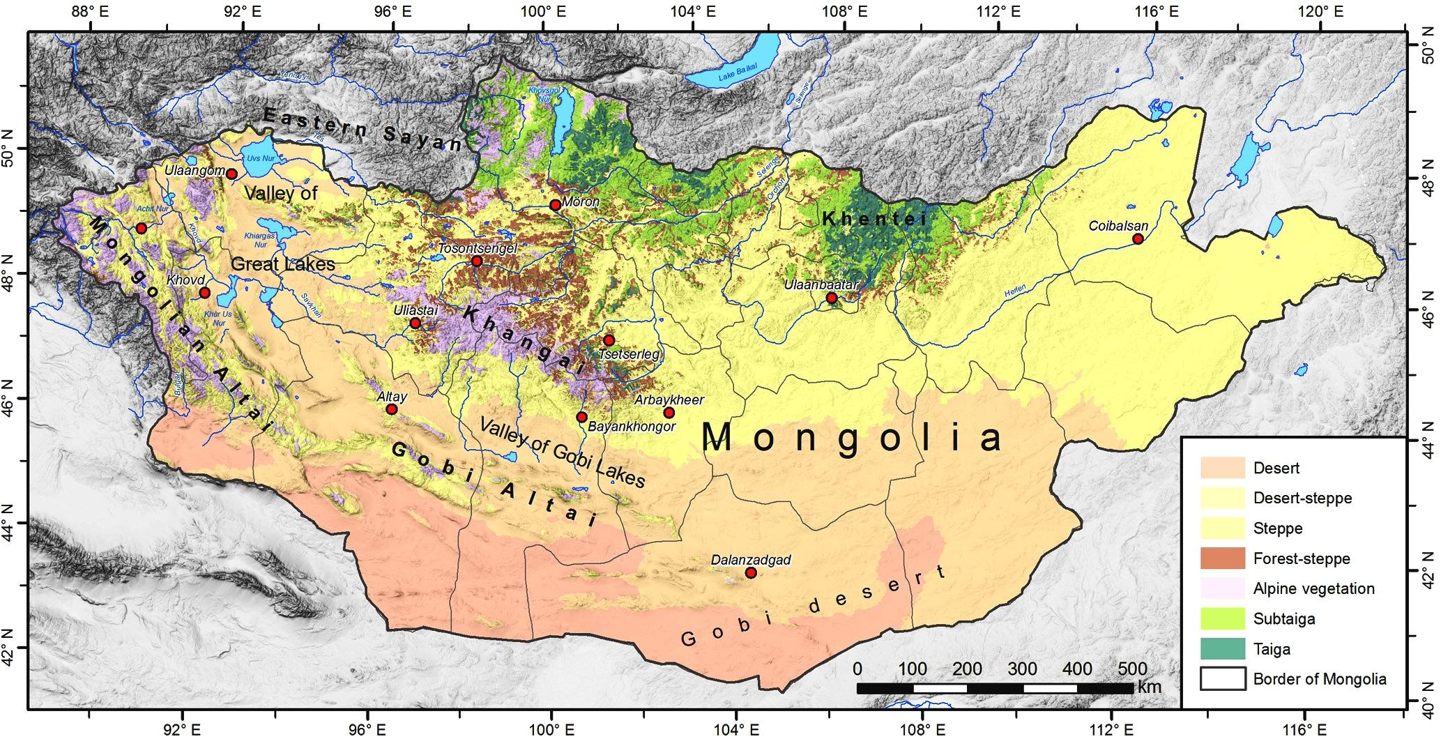 Cartina Geografica Della Mongolia.Mappa Geografica Della Mongolia Paesaggio Ecosistema Flora Fauna