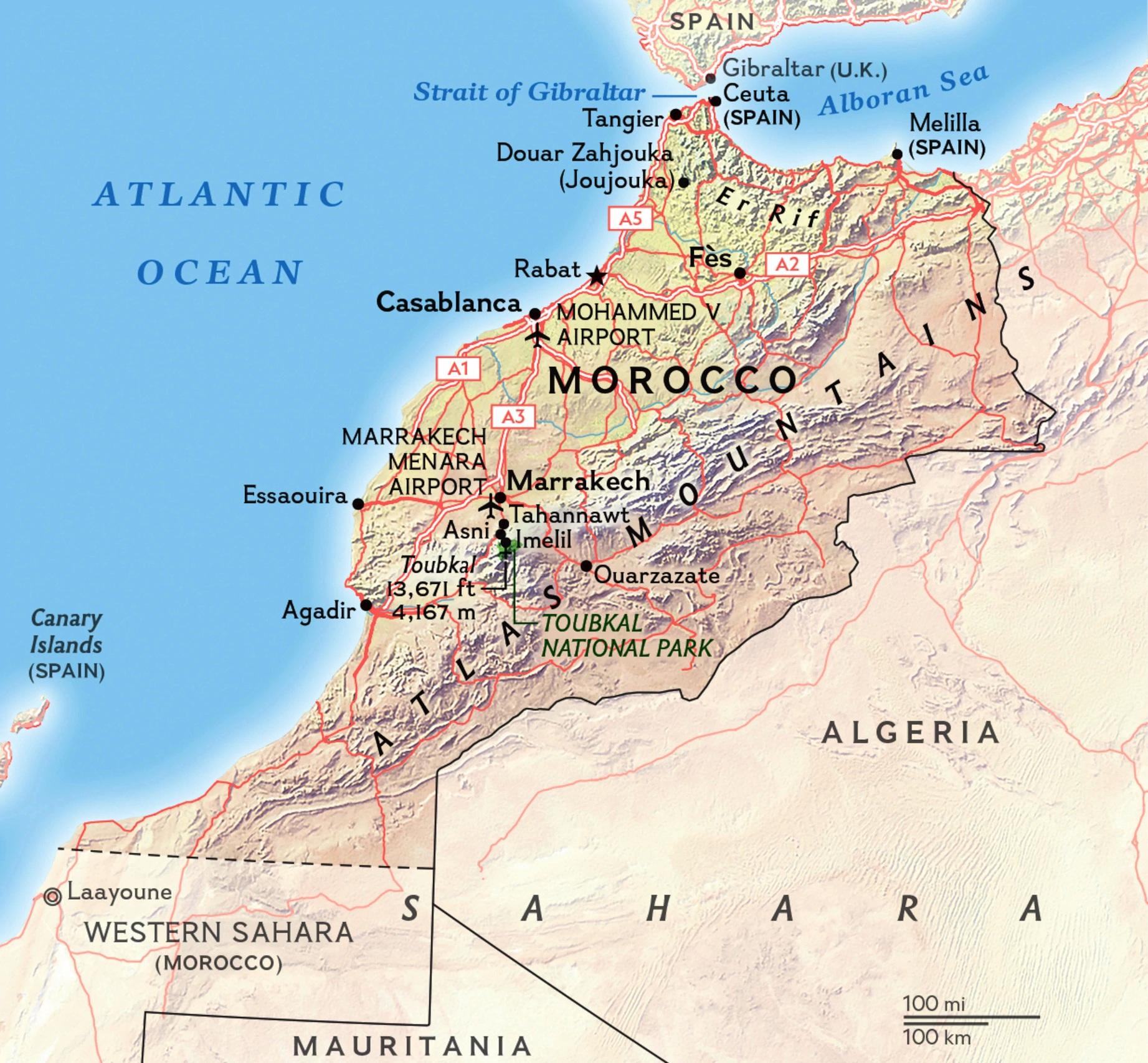 Cartina Geografica Fisica Del Marocco.Mappa Geografica Del Marocco Geografia Clima Flora Fauna